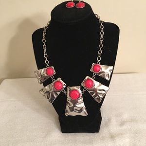 Silvertone and Faux Coral? Necklace